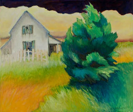 painting of house and tree