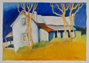 house on farm painting
